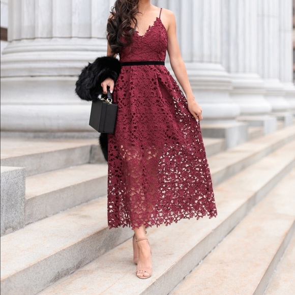 Astr The Label Lace Midi Dress In Burgundy Nwt